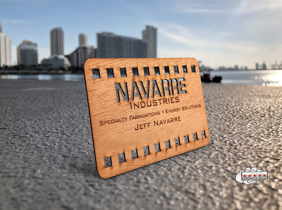 wood business cards in miami